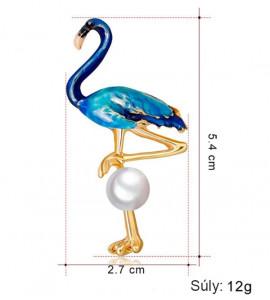 Flamingo kék bizsu bross tű / kitűző