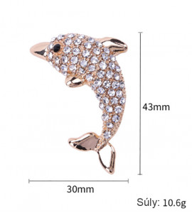 Delfin bizsu kristály bross tű / kitűző