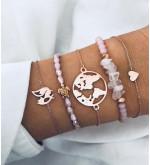 Szemirámisz rózsaszín 5in1 ásvány karkötő
