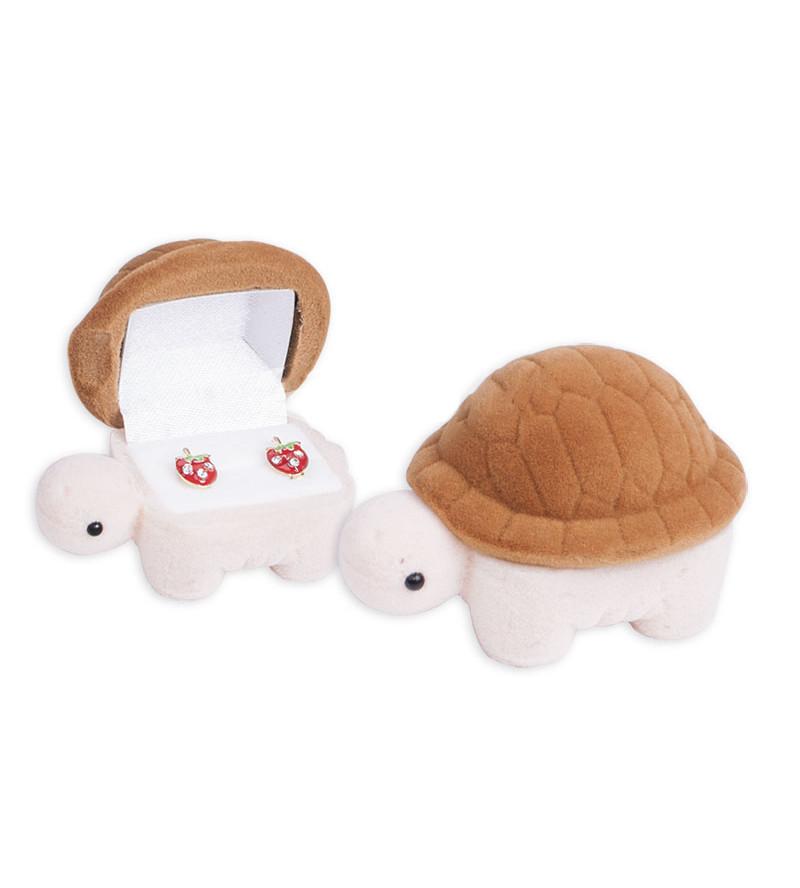 Barna színű, teknős alakú ékszertartó doboz