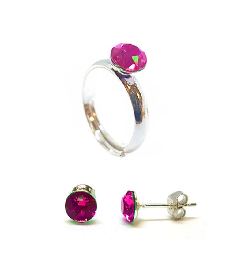 925 ezüst ékszer szett Swarovski® kristállyal - gyűrű + fülbevaló - Light Rose