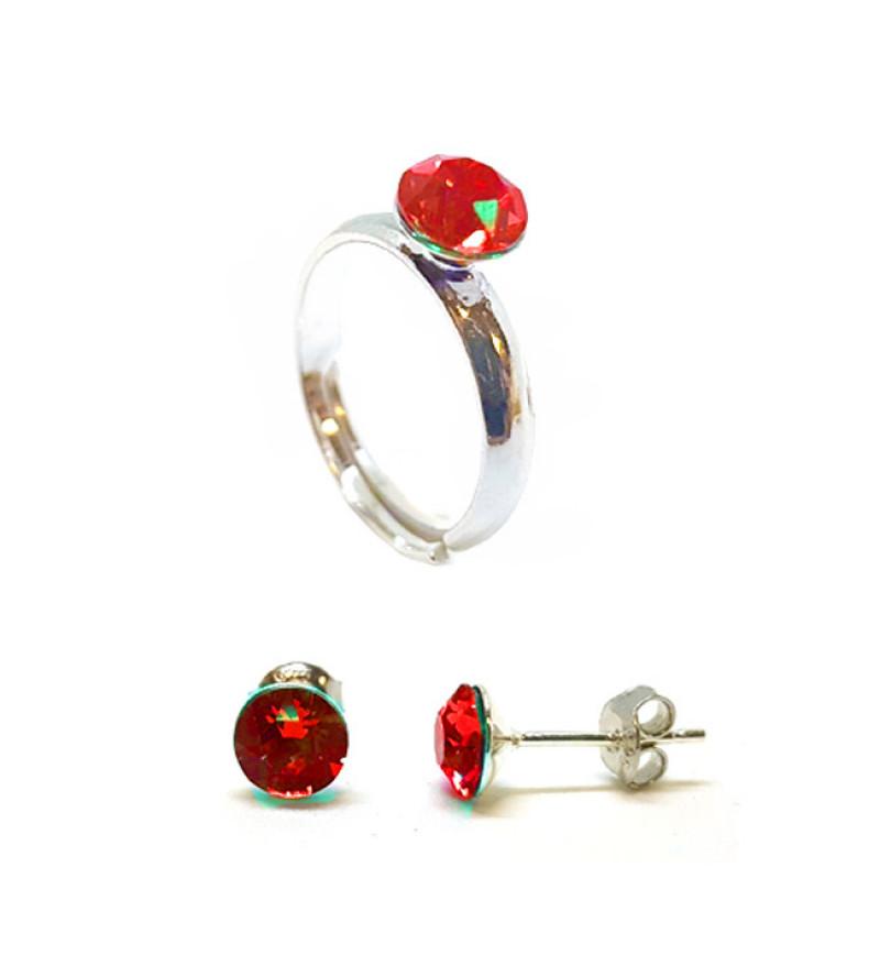 925 ezüst ékszer szett Swarovski® kristállyal - gyűrű + fülbevaló - Light Siam