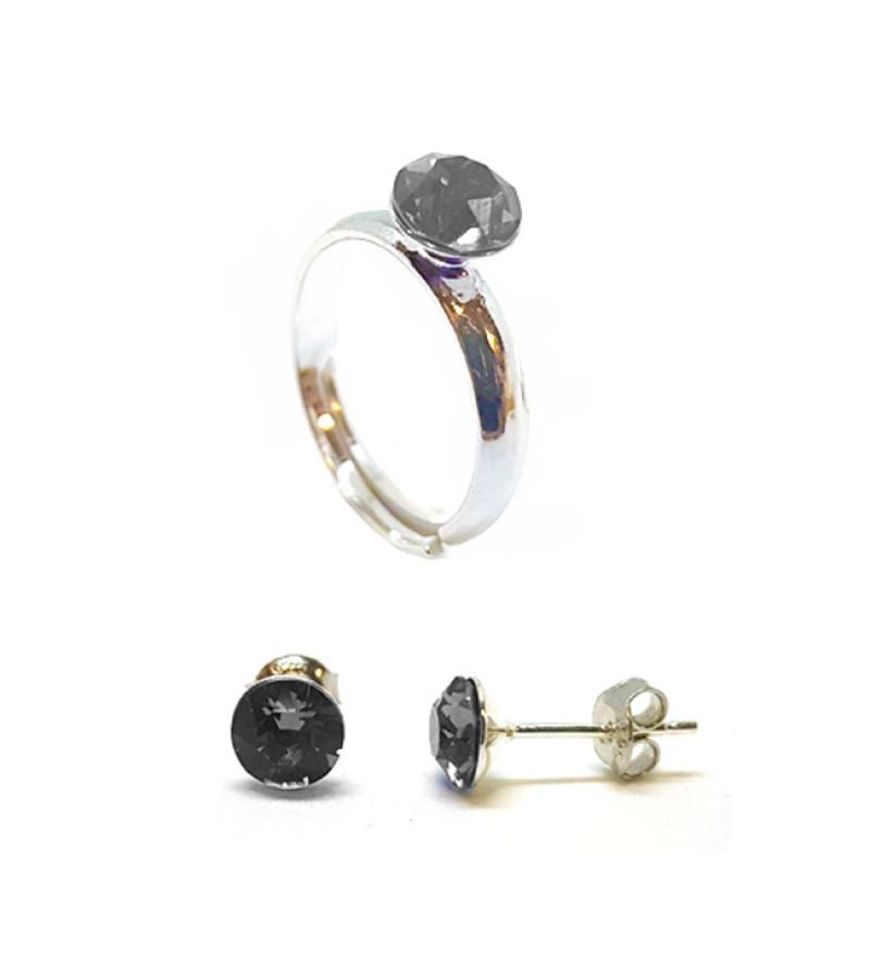 925 ezüst ékszer szett Swarovski® kristállyal - gyűrű + fülbevaló - Silver Night