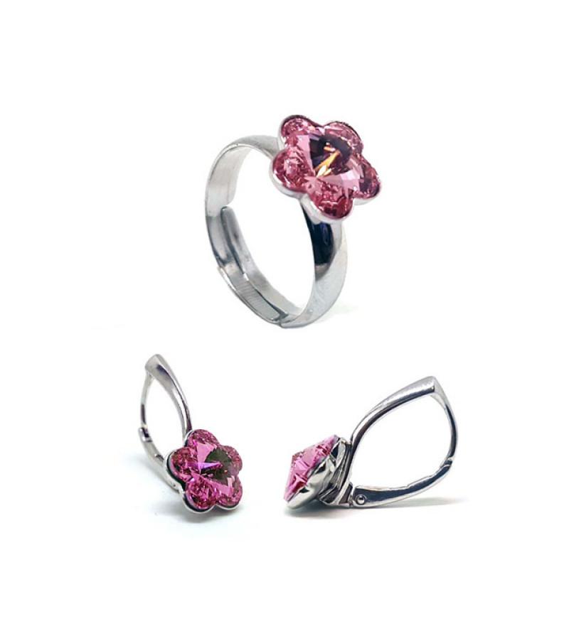 925 ezüst ékszer szett Swarovski® kristállyal - gyűrű + fülbevaló - Virágos, Light Rose