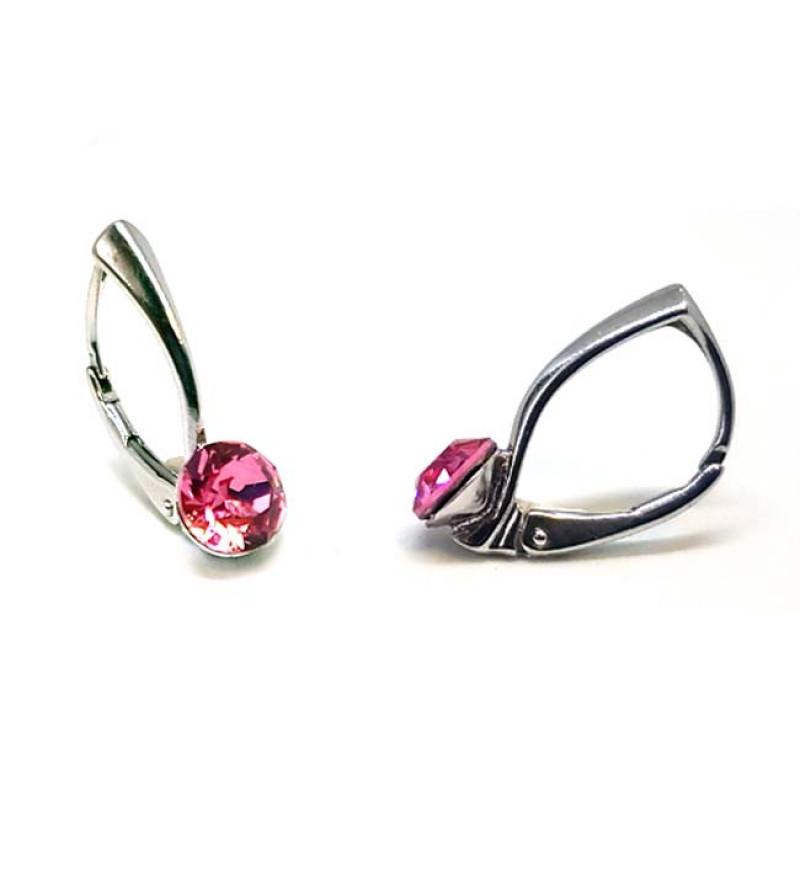925 ezüst fülbevaló ékszer Swarovski® kristállyal - kapcsos, Light Rose