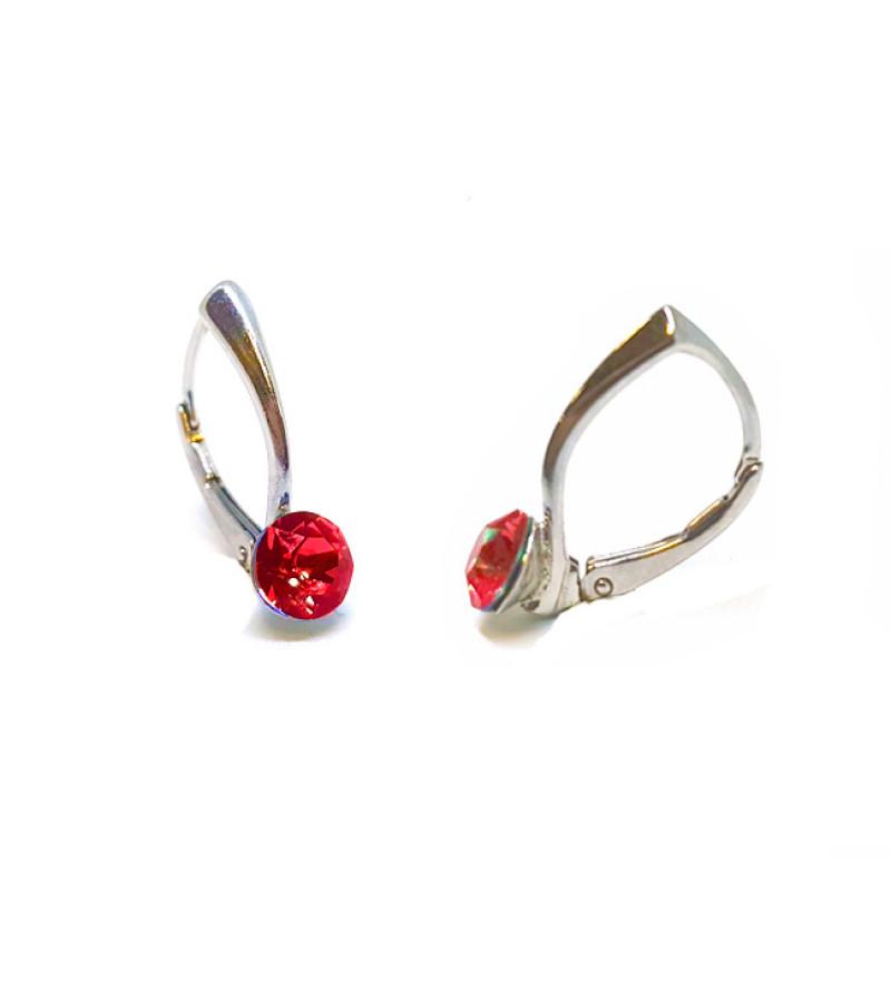 925 ezüst fülbevaló ékszer Swarovski® kristállyal - kapcsos, Light Siam