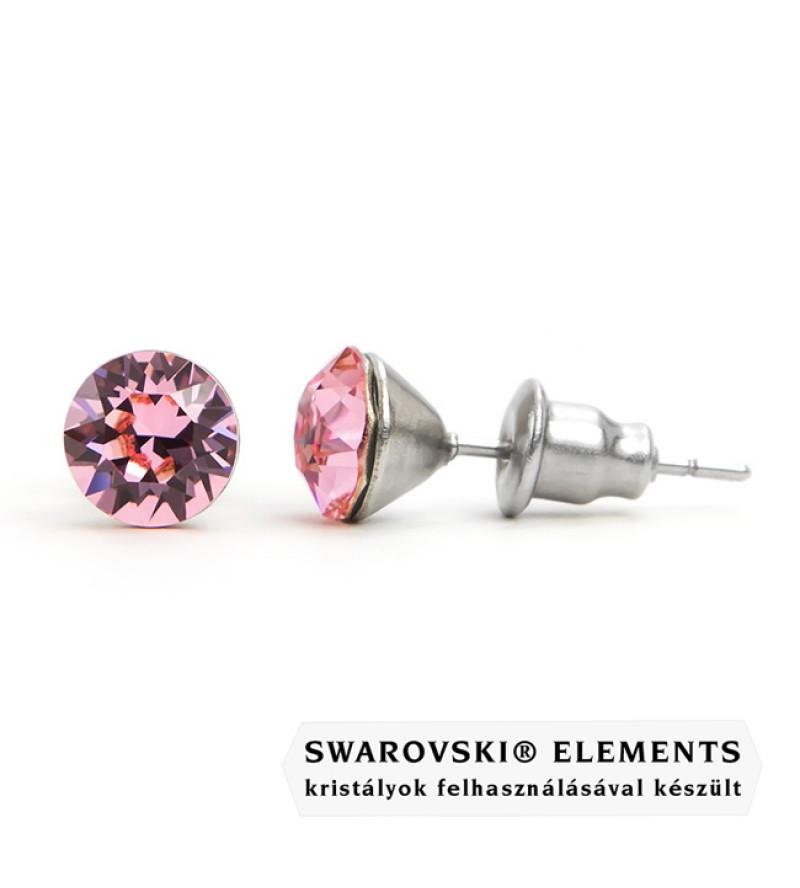 925 ezüst fülbevaló ékszer Swarovski® kristállyal - Light Rose