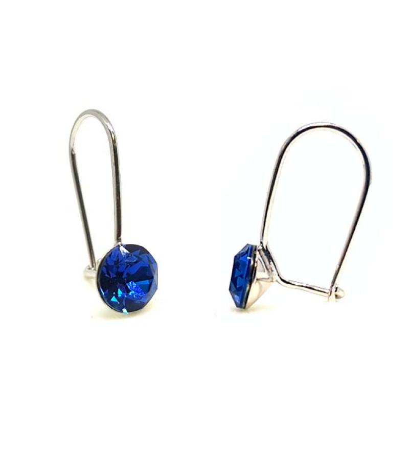 925 ezüst fülbevaló ékszer Swarovski® kristállyal - vékony, Capri Blue