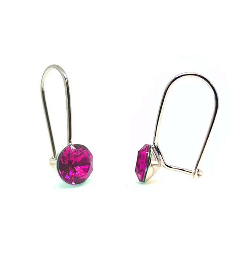 925 ezüst fülbevaló ékszer Swarovski® kristállyal - vékony, Light Rose