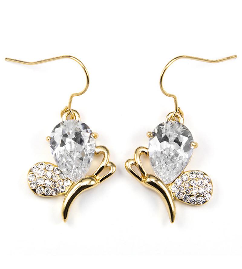 Agatha Swarovski kristályos fülbevaló - Arany színű/Pillangó