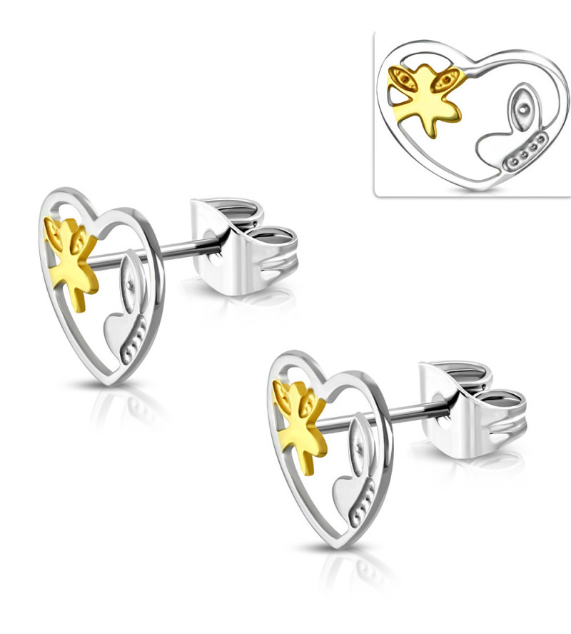 Arany és ezüst színű szív alakú nemesacél fülbevaló, pillangó mintával