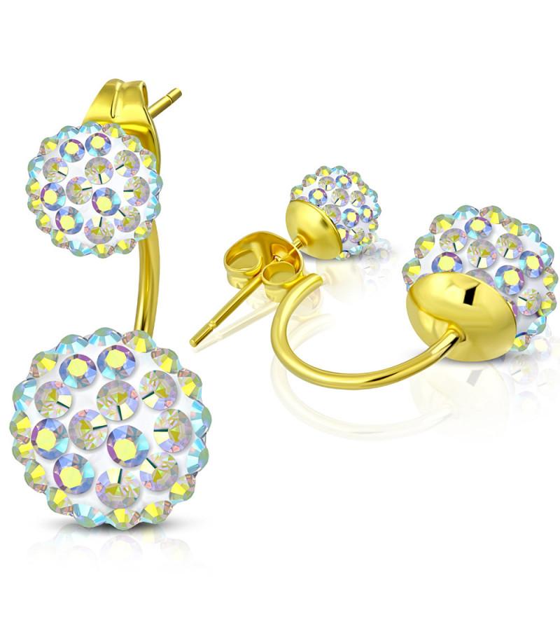Arany színű dupla gömbös  Shamballa fülbevaló, átlátszó cirkónia kristállyal