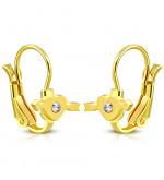 Arany színű nemesacél fülbevaló, átlőtt szív mintával, cirkónia kristállyal