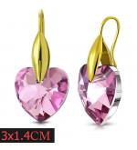 Arany színű nemesacél fülbevaló szív alakú lila kristállyal