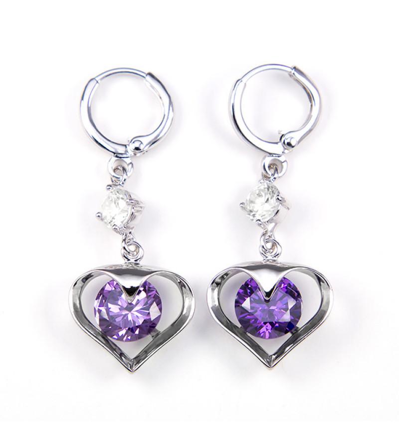 Ariana Swarovski kristályos fülbevaló - Lila szív