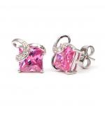 Aurora Swarovski kristályos négyzet alakú fülbevaló -Rózsaszin