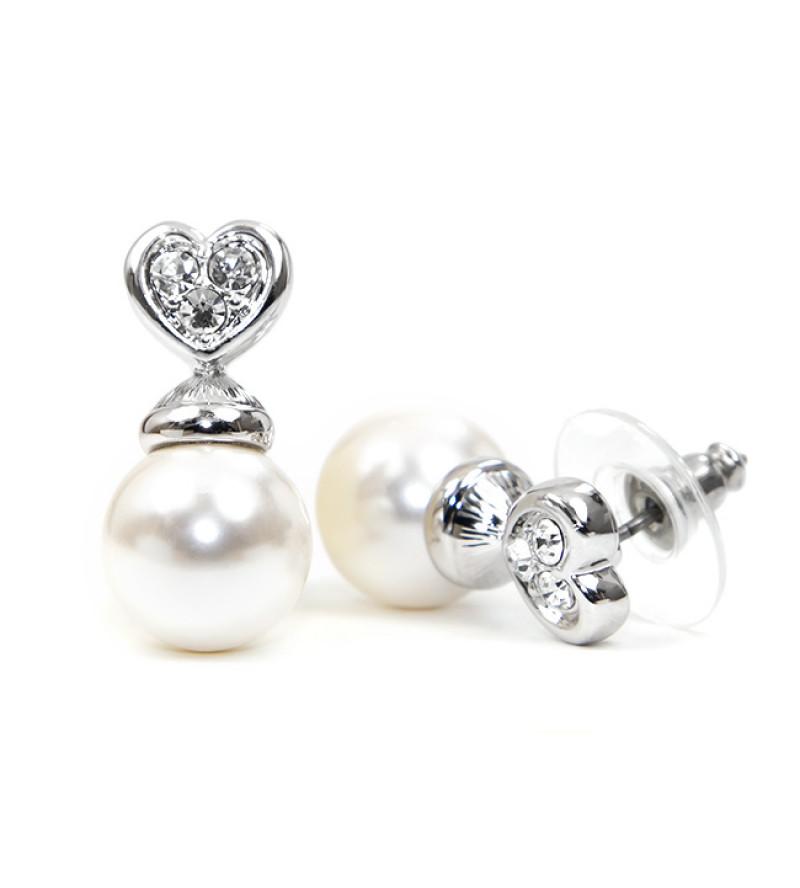 Chloe Swarovski kristályos fülbevaló - Ezüst színű, fehér gyönggyel