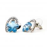 Dina Swarovski kristályos fülbevaló -Ezüst Szívben Kék virág