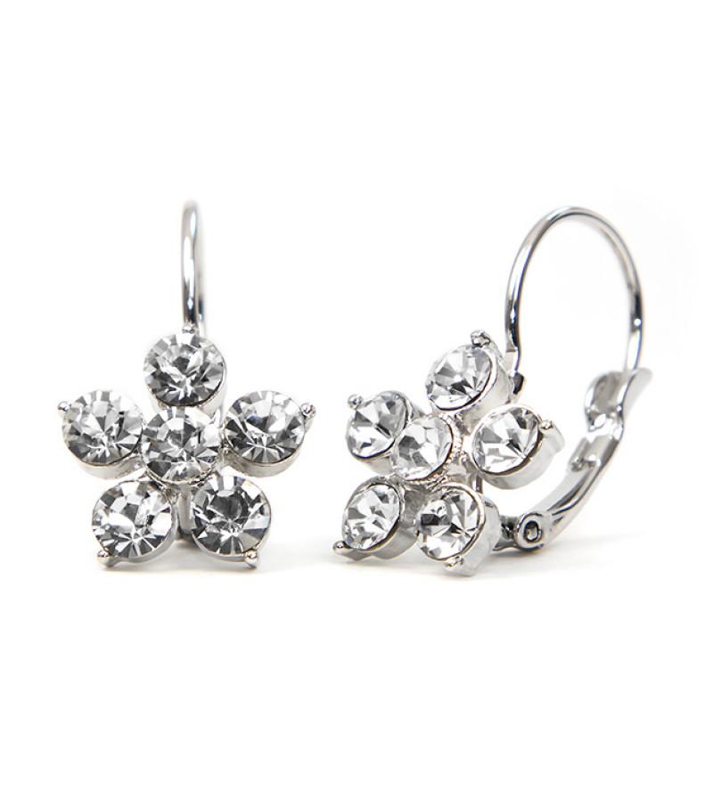 Ebony Swarovski kristályos fülbevaló - Ezüst színű