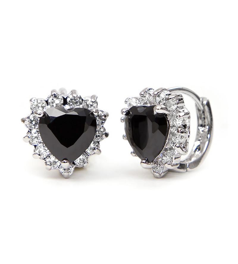 Elma Swarovski kristályos fülbevaló - Fekete szív