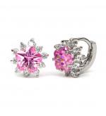 Elma Swarovski kristályos fülbevaló -Rózsaszin virág
