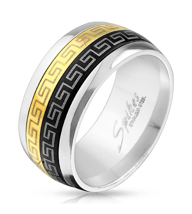 10 mm - Fekete és arany színű nemesacél gyűrű görög mintázattal-11