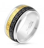 10 mm - Fekete és arany színű nemesacél gyűrű görög mintázattal-12