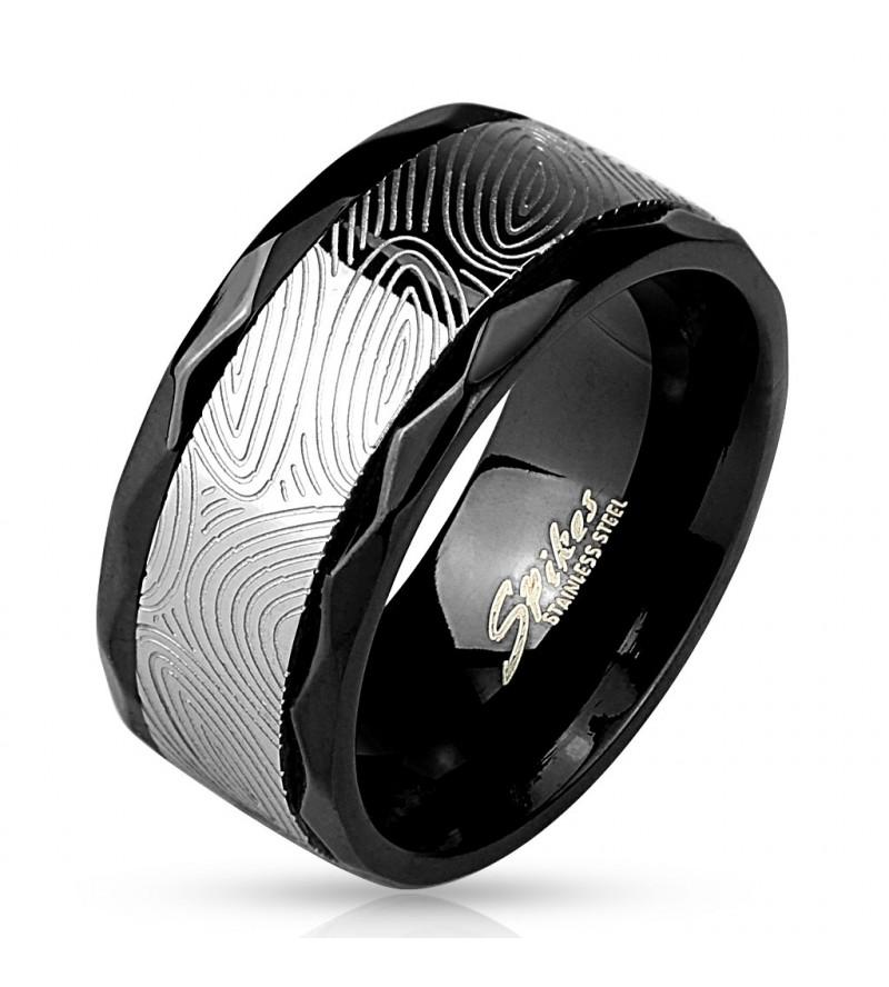 10 mm - Ujjlenyomat mintás nemesacél karikagyűrű-9