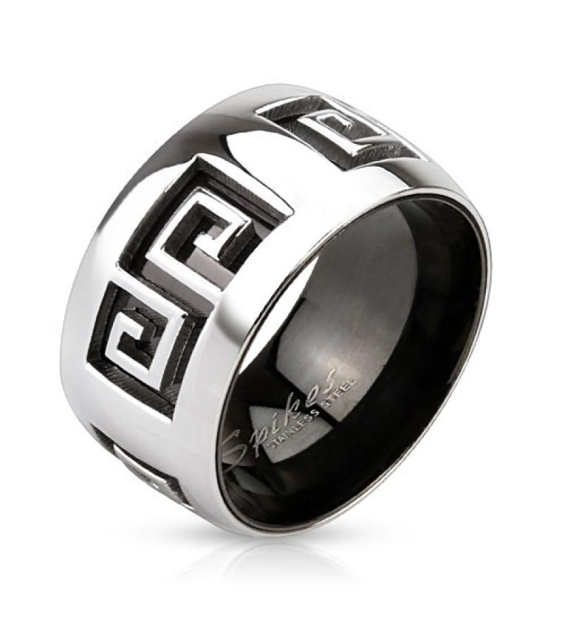 11 mm - Kivágott görög mintás nemesacél karikagyűrű-8