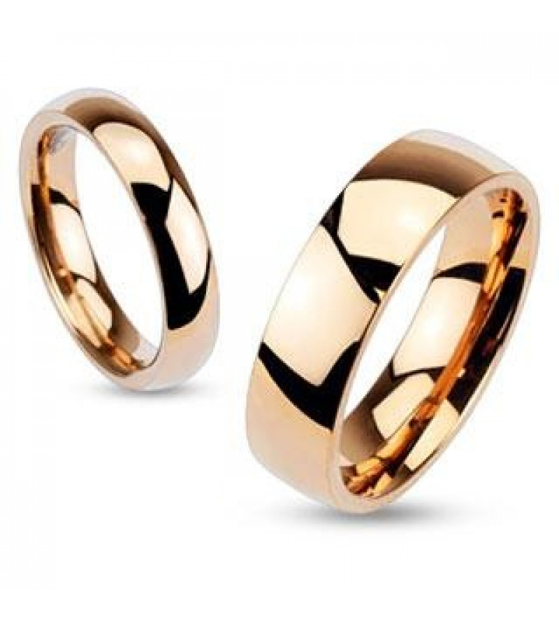 4 mm - Vörös arany színű, tükörfényes nemesacél gyűrű