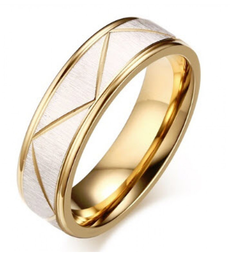 6 mm - Arany és ezüst színű barázdált nemesacél gyűrű ékszer