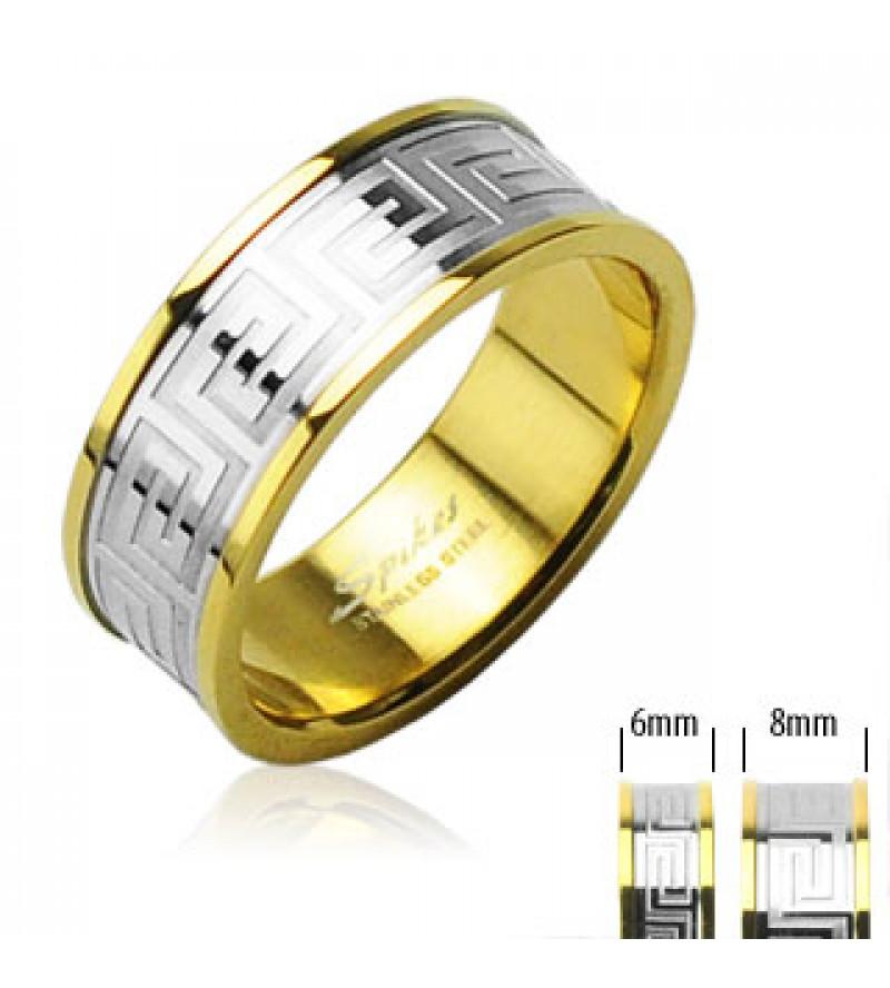 6 mm - Arany és ezüst színű karikagyűrű görög mintázattal-6