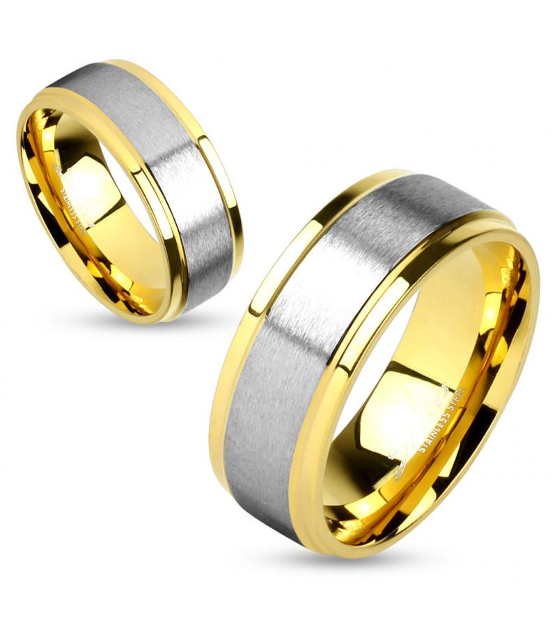 6 mm - Arany és ezüst színű, matt nemesacél gyűrű ékszer