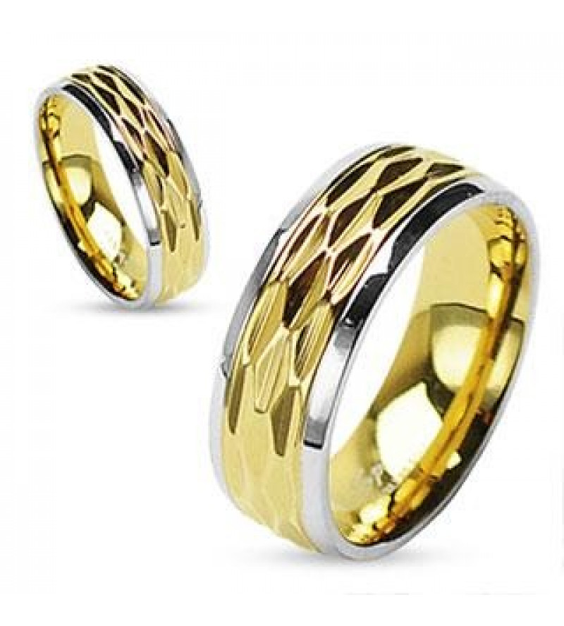 6 mm - Arany és ezüst színű nemesacél gyűrű ékszer