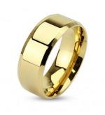 6 mm - Arany színű, lapos szélű nemesacél gyűrű ékszer