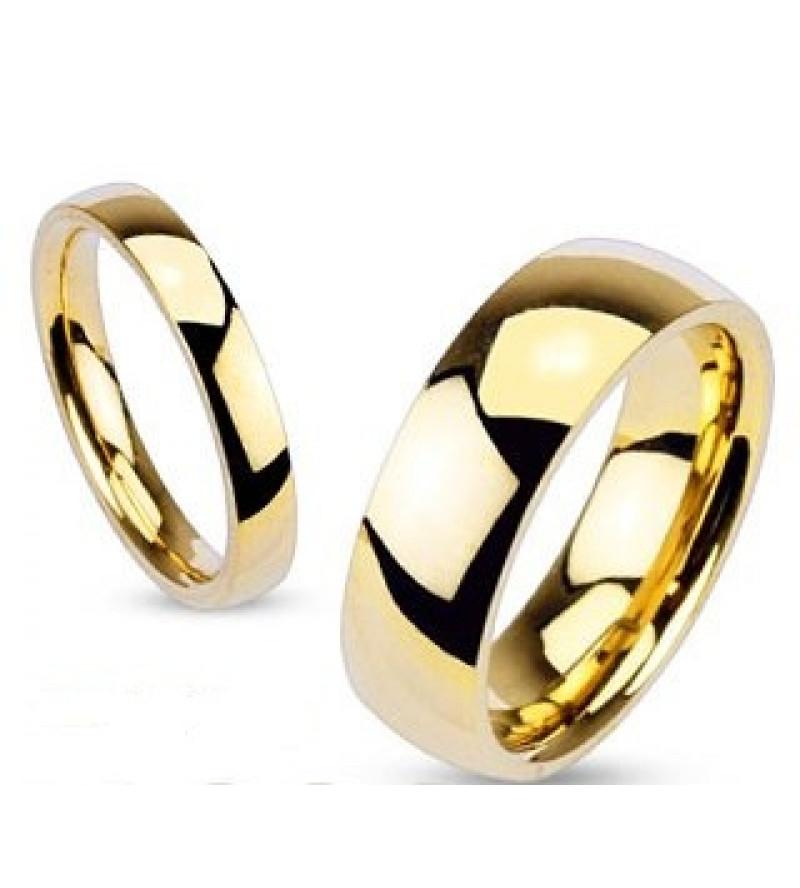 6 mm - Arany színű, tükörfényes nemesacél gyűrű