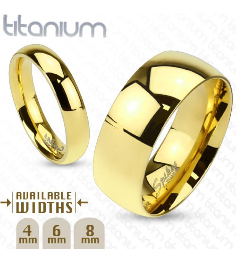 6 mm - Arany színű, tükörfényes nemesacél gyűrű-5