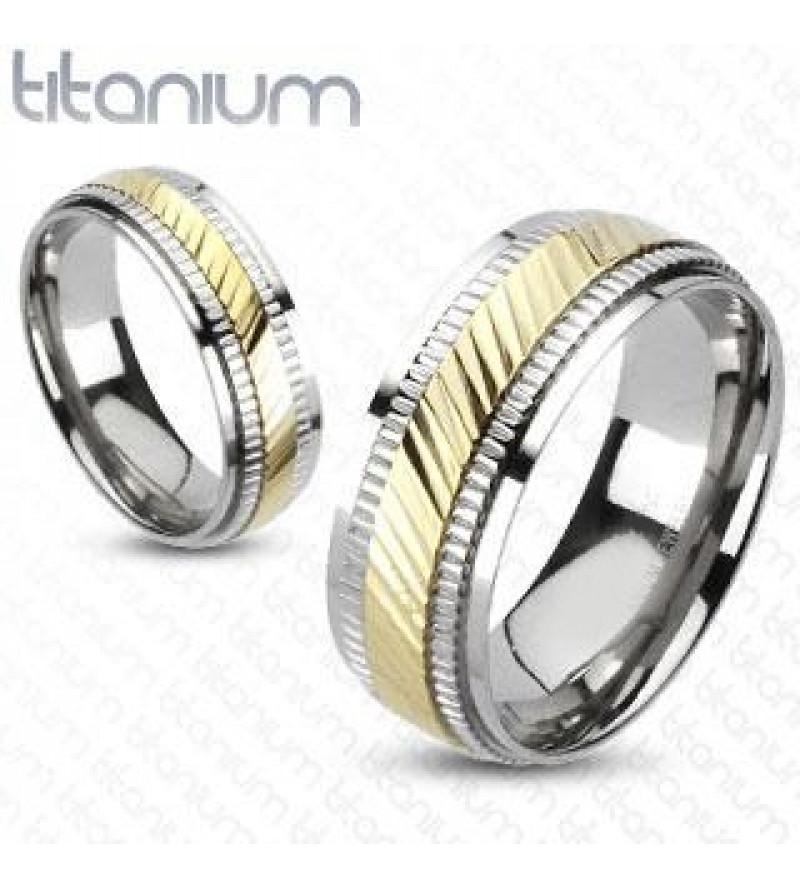 6 mm - Bordázott, arany és ezüst színű nemesacél gyűrű ékszer