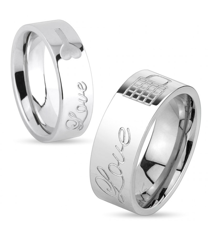 6 mm - Ezüst színű - Love - feliratú nemesacél gyűrű ékszer
