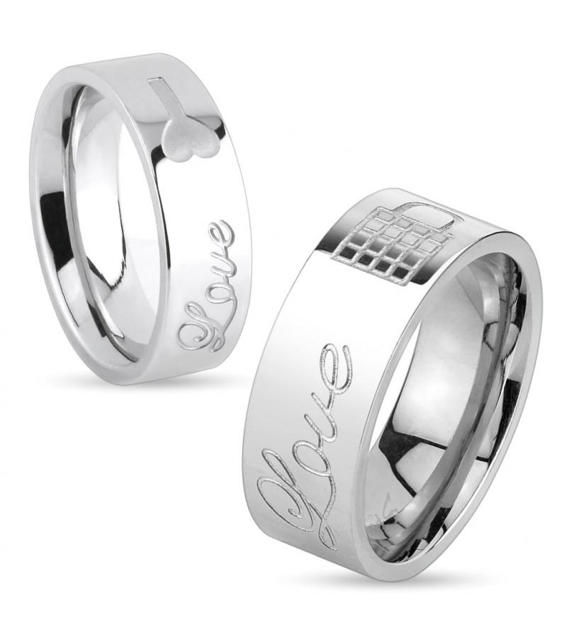 6 mm - Ezüst színű -Love- feliratú nemesacél gyűrű ékszer