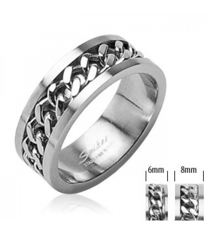 6 mm - Ezüst színű nemesacél gyűrű, középen forgó lánc dísszel