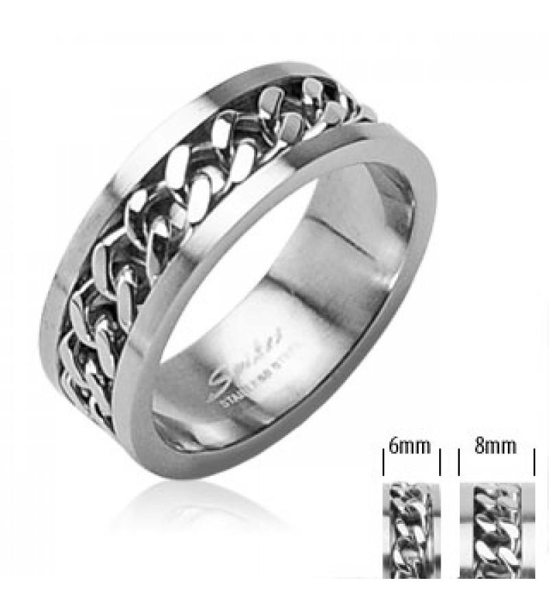 6 mm - Ezüst színű nemesacél gyűrű, középen forgó lánc dísszel-6