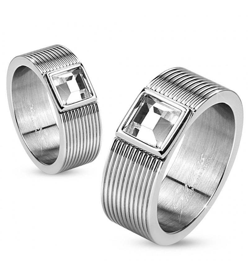 6 mm - Ezüst színű nemesacél karikagyűrű cirkónia kristállyal-6