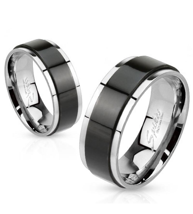 6 mm - Fekete csíkos nemesacél karikagyűrű-7