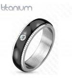 6 mm - Fekete és ezüst színű cirkónia kristályos nemesacél gyűrű-10