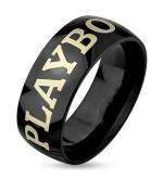 6 mm - Fekete színű, eredeti Playboy nemesacél gyűrű ékszer