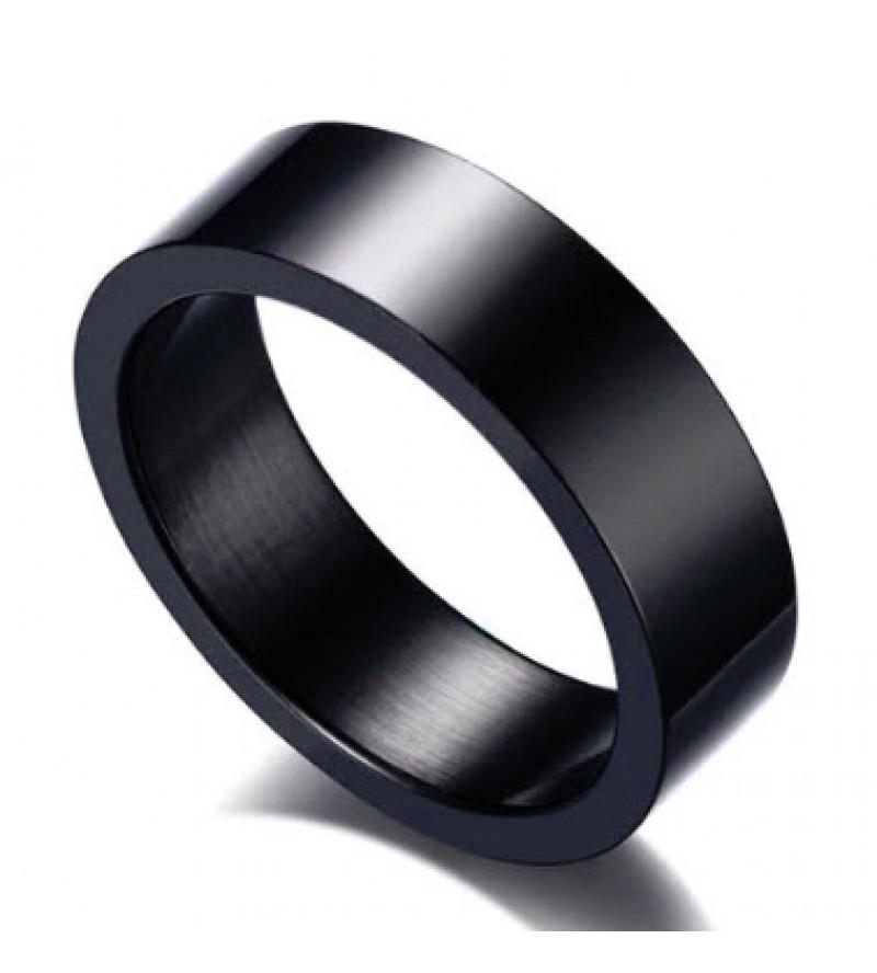 6 mm - Fekete színű, tükörfényes nemesacél gyűrű