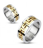 8 mm - Arany és ezüst színű, görög mintás nemesacél gyűrű ékszer