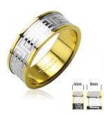 8 mm - Arany és ezüst színű karikagyűrű görög mintázattal-11