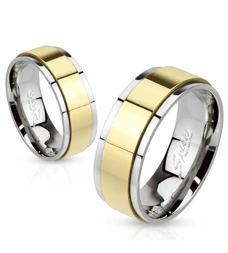 8 mm - Arany és ezüst színű, tükör fényes nemesacél gyűrű ékszer